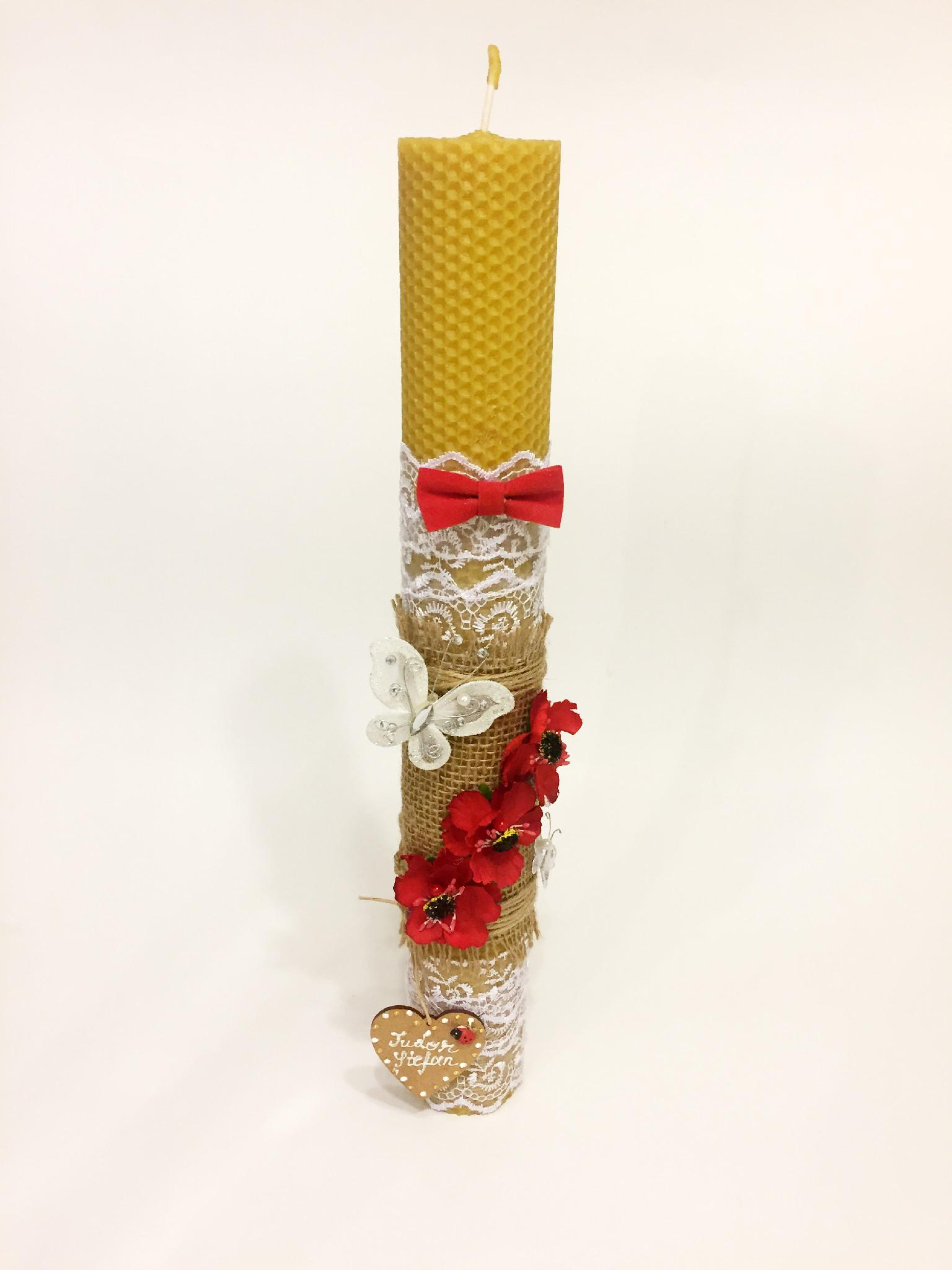 Lumanare Botez Decorata Cu Maci Rosii Bwx Candles